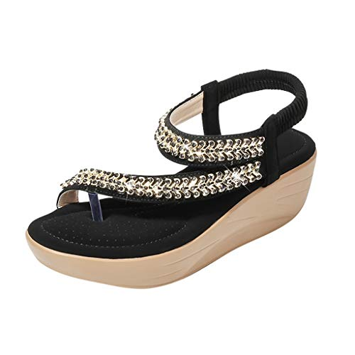 SMALLE_Shoes Thong Flat Sandals,SMALLE◕‿◕ Women Sparkle Sandals Bohemia Flip Flops Ankle Strap Summer Open Toe Dress Sandals - Brush Boot Cast