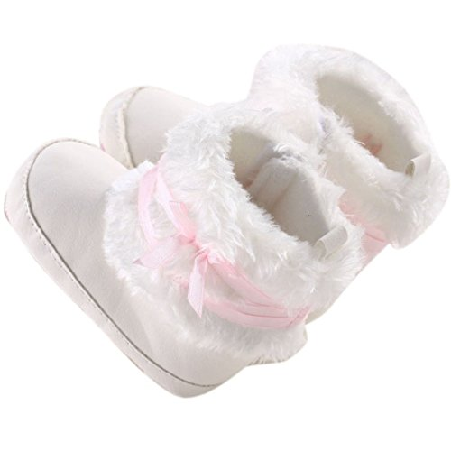 Pictures of Baby Infant Bowknot Boots Soft Crib Shoes White 2