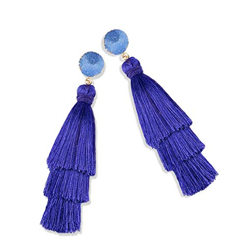 Ladies Thread Blue Royal - Statement Tassel Earrings for Women Drop Dangle Handmade Tiered Thread Layered Bohemian Beach Party Girl Novelty Fashion Summer Accessories - E3 Royal Blue