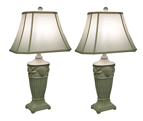 Seashell Table Lamp - 2 Piece Off-White Ribbed Coastal Seashell Table Lamp Set w/Fabric Shade