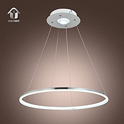UNITARY BRAND Modern LED Acrylic Pendant Light Remote Control Included With 1 Ring Max 35W Chrome Finish