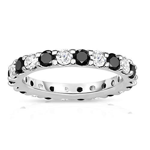 Noray Designs 14K White Gold Black & White Diamond (2.00 Ct TW, SI2-I1 Clarity) Eternity Band (Tw Diamond Eternity 2ct Band)