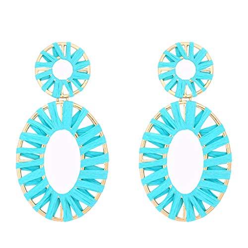 (Woven Rattan Earrings Handmade Straw Rattan Earrings Handmade Raffia Earrings Lightweight Geometric Straw Dangle Earrings (blue))