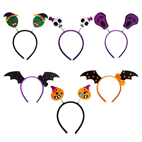 OULII Halloween Headband Skull Bat Pumpkin Hair Hoop Headpiece for Kids Halloween Costume Party Decoration Pack 6pcs