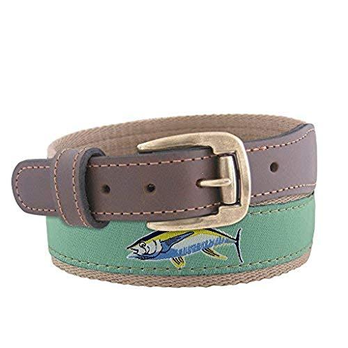 (ZEP-PRO Action Yellowfin Tuna Roller Buckle Ribbon Belt-Mint Green-36)
