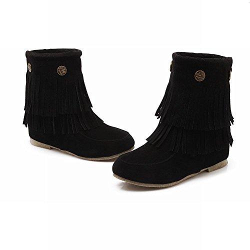 Latasa Womens Chic Nubuck Tassels Rivets Short Pull-on Slouch Flats Boots Black 6Zk6h