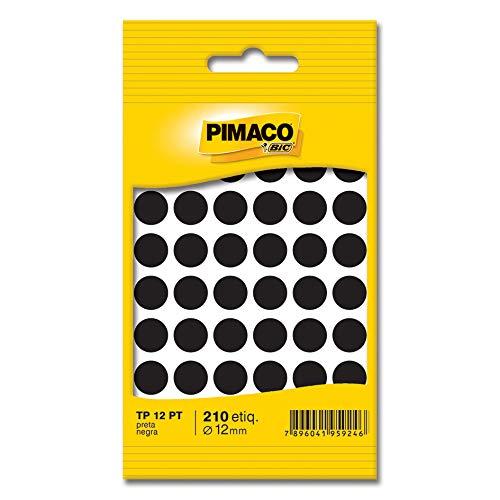 Etiqueta adesiva p/ codificação 12mm preta TP12PT Pimaco, BIC, 886599, Preta, pacote de 5