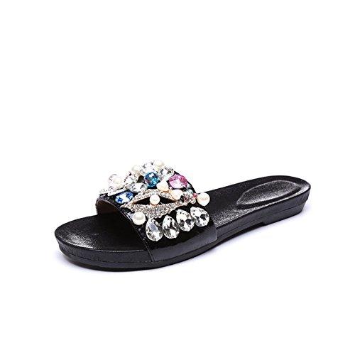 Scarpe estive/ piatto pantofole e Sandali strass tacco/Scarpe moda/Dolce con flip flops piatto scarpe donna-A Lunghezza piede=24.3CM(9.6Inch)