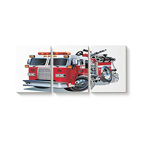 Arts Language 3 Piece Canvas Wall Art Painting for Office Bedroom Living Room Home Decor,Cartoon Firetruck Pattern Pictures Modern Artworks,12 x 16in x 3 Panels