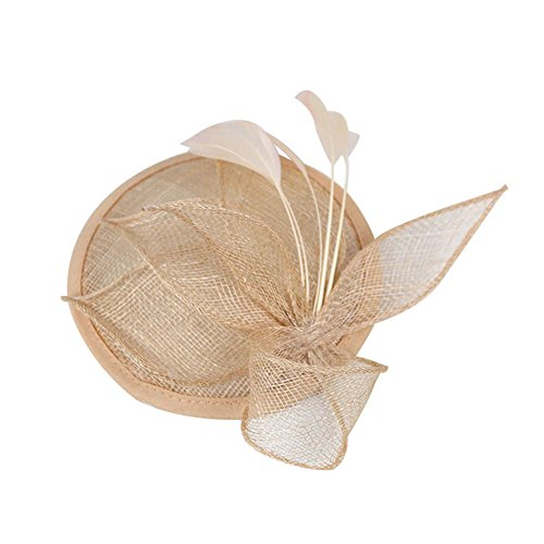 Sinamay Fascinator Pillbox Hat Headband Hair Clip for Cocktail Tea Party, Apricot, One Size