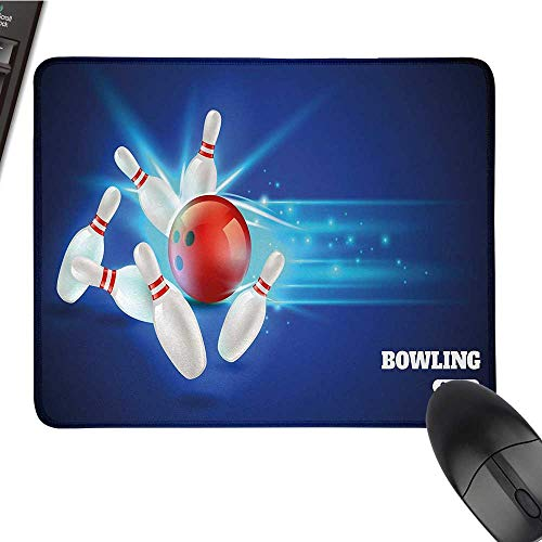(Bowling PartyE-Sports Gaming Mouse PadBowling Strike Image Red Ball and Classical Pins in Vivid CompositionNonslip Rubber Base 9.8