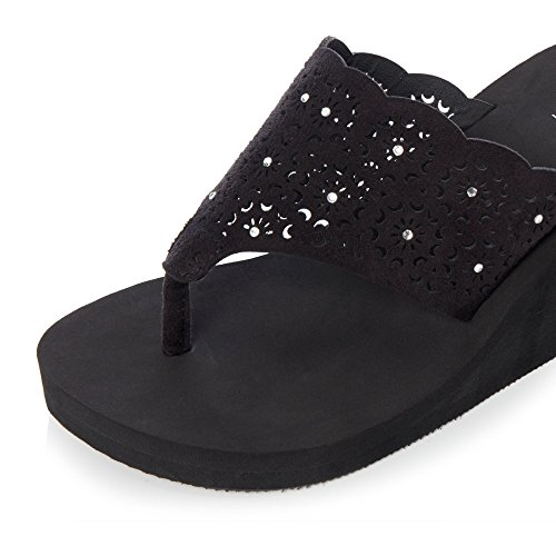 Debenhams Womens Sandals Laser Collection Cut Black Wedge Beach wwZUxg68R