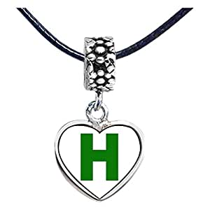 Chicforest Silver Plated Green Letter H Photo Flower Head Dangle Heart Charm Beads Fits Pandora Bracelets