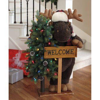 Fabric Holiday Greeters With Led Lights And Welcome Sign
