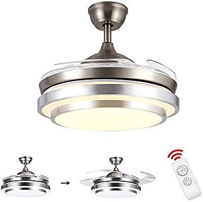 SUZNIU Ventilador de Techo con lámpara y Control Remoto, 36W LED ...