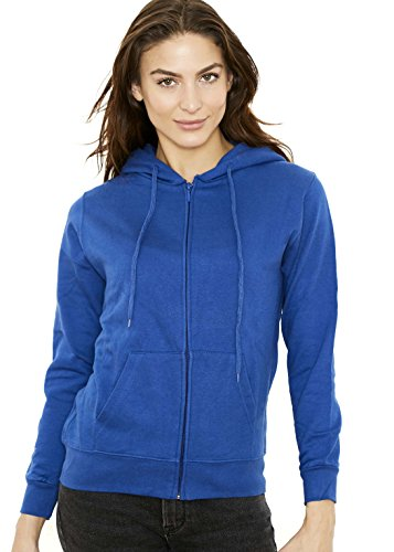 New York Avenue Women's Hooded Sweatshirt - Traditional Fit Soft Light Fleece Zip Up Hoodie - Royal Blue - Large - by
