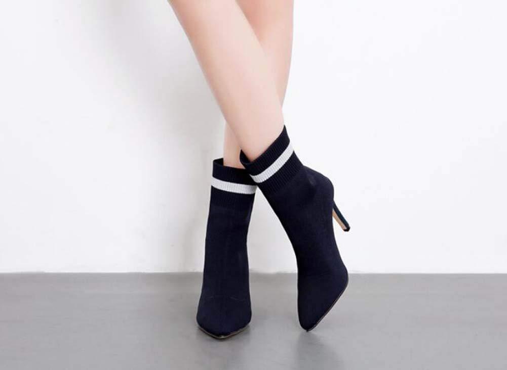 Calcetines De Lana Botines Mujeres Puntiagudos Toe 10Cm Estilete Color Coincidencia Elasticidad Ankel Botín Vestido Zapatos UE Tamaño 34-40: Amazon.es: ...