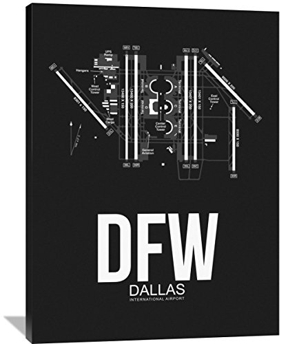 "Naxart Studio ""DFW Dallas Airport Black"" Giclee on Canvas, 36"" by 1.5"" by 48"" from Naxart Studio"