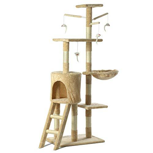 dytrading Katzenbaum Kratzbaumkratzer Kratzbaum Scratcher Katzenkätzchen mit Hängematte, Höhle, Spielsisal Leitern…