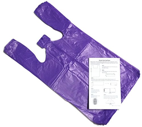 Purple 10x6x21 Medium Plastic T-shirt Bags (100 Pack) with Crafting Insert - Reusable Retail Shopping Bags by Red Blue Charley
