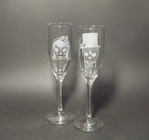 Sugar Skull Champagne Flute