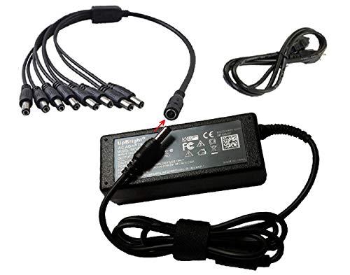 UpBright 12V 5A AC Adapter Power Supply + 8 Split for CCTV Security IP IR Camera DVR Swann DVR8-4575 Lorex FLIR LKB343 LHV2000 LAB223 CS-1205000 QCN8009D QM9702B LHV1000 LHV1004 1 to 8 8-in-1 Splitter