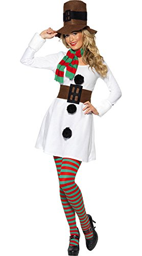 Mr. Mrs. Ms. White Santa Claus Christmas Adult Women Men Costume Snowman Outfit (Women, White) (Mr And Mrs Claus Costume)