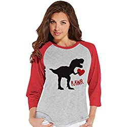 Custom Party Shop Women's Dinosaur Valentine's Day Raglan Shirt Large Red