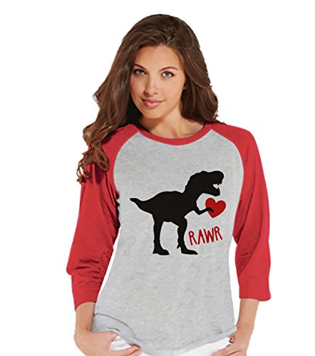 Womens Shop (Custom Party Shop Women's Dinosaur Valentine's Day Raglan Shirt Small Red)