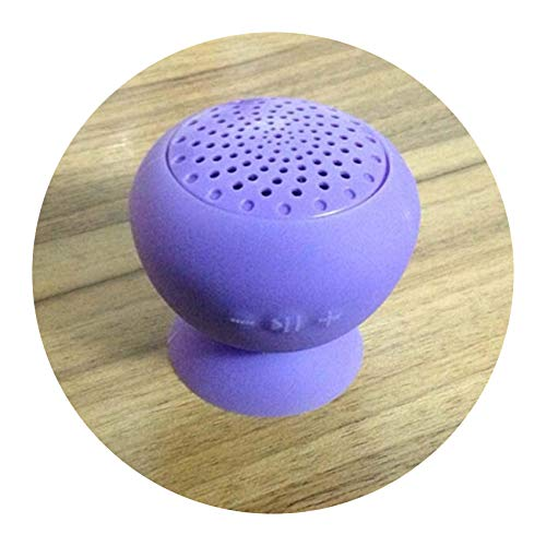 (Water Resistant Wireless Bluetooth Handsfree Suction Speaker subwoofer Shower Outdoor with mic Music receptor Bluetooth for PC,Purple)