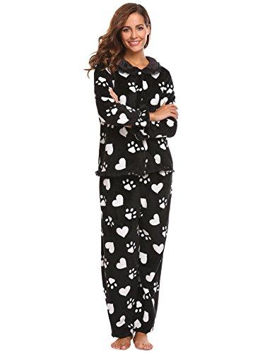 Fleece Print Pajama Set - Ekouaer Women's Thermal Pajamas Fleece Plush Lace Patterned Pajama Set (Black Paw Prints, XXL)