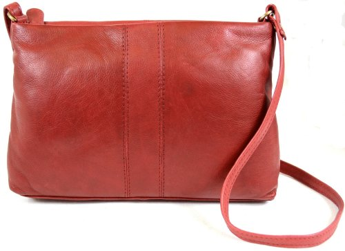 Ladies Soft Premium Leather Shoulder/Cross Body Bag (Black, Brown, Ox, Blue, Charcoal, Tan, Red) Red