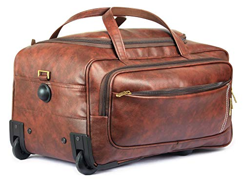 (Marquess Trolley Duffel Bag | 49 ltrs Faux Leather Rolling Duffel | Travel Duffle Bag-Cinnamon)