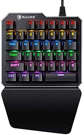 Teclado mecánico de una Sola Mano para Juegos SADES portátil Mini Teclado para Juegos para LOL/PUBG/Fortnite/Wow/Dota/OW