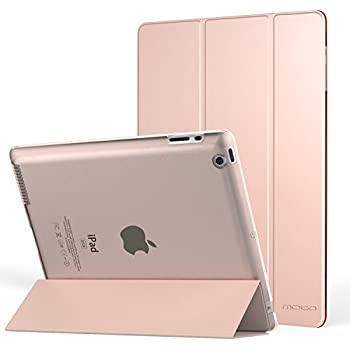 MoKo Case for iPad 2 / 3 / 4 - Ultra Lightweight Slim Smart-shell Stand Cover with Translucent Frosted Back Protector for iPad 2 / The NEW iPad 3 (3rd Gen) / iPad 4, Rose GOLD (with Auto Wake / Sleep)