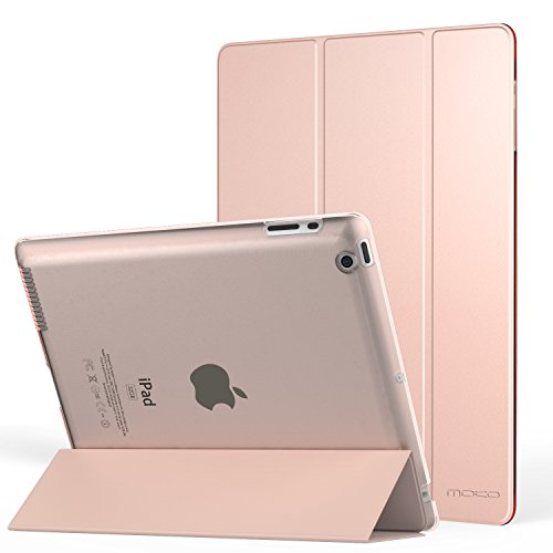 MoKo Case for iPad 2 / 3 / 4 - Ultra Lightweight Slim Smart Shell Stand Cover with Translucent Frosted Back Protector for iPad 2 / The NEW iPad 3 (3rd Gen) / iPad 4, Rose GOLD (with Auto Wake / Sleep)