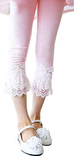 Flower Lace Leggings - Girls Summer Basic Leggings Pants with Lace Flower Trim, Pink 2T