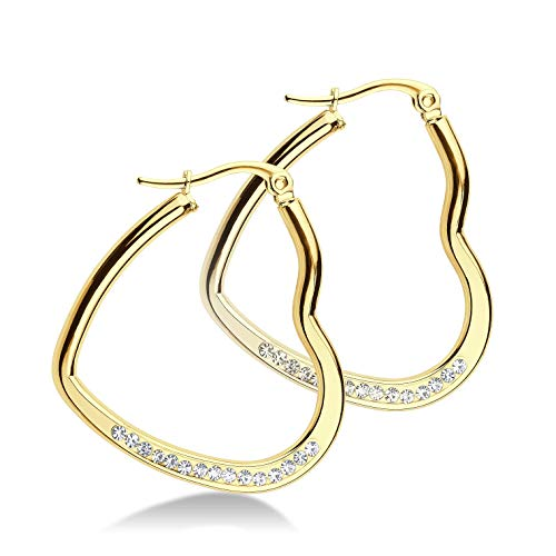 555Jewelry Womens Stainless Steel CZ Hypoallergenic Comfort Elegant Gift Jewelry Accessory Lightweight Hinged Durable Heart Shape Love Dressy Classic Large Hoop Fashion Earrings, Yellow Gold