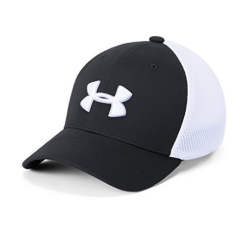 Under Armour Mesh Visor - Under Armour Boys' Golf Classic Mesh 2.0 Cap, Black (001)/White, Youth X-Small/Small