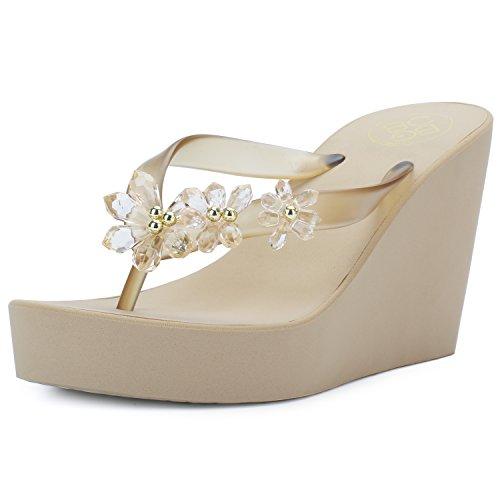 IDIFU Women's Sweet Flowers Wedge Platform Thong Sandals Flip Flops with Heels Gold 7.5 B(M) US