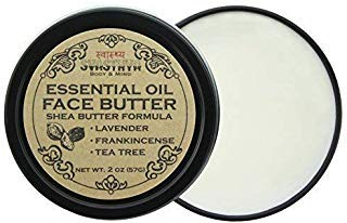 (Svasthya Essential Oils Face Butter, with Lavender, Frankincense, and Tea Tree Oil, For Irresistibly Soft, Smooth, Clear Skin 100% Natural, Non GMO, Cruelty Free, 2 oz)