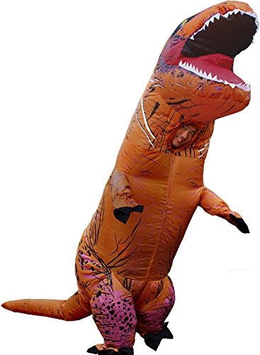 T-Rex Dinosaur Costume, Adult, Inflatable | Breathe Talk & Enjoy The Party Through The Head Hole (1, Adult Tyrannosaurus)]()