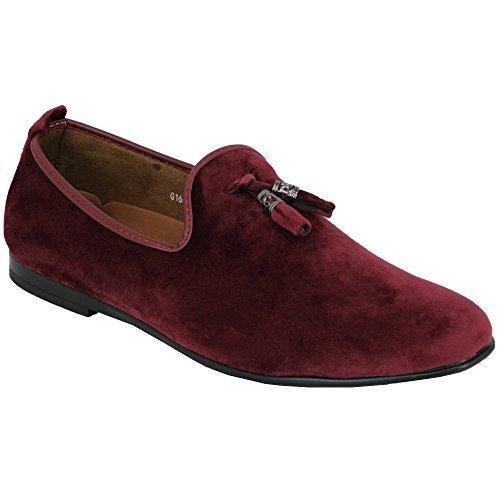 Vitale Herren Schuhe ohne Bügel Italienischer Designer Slipper Wildleder-Optik Quasten Mokassin Stil rot - G1616