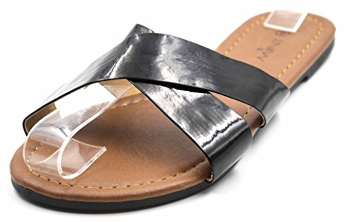 Orly Shoes Women's Jackie Slide Front PU Leather Criss Cross Multi Flip Flop Sandal in Black Size: 6