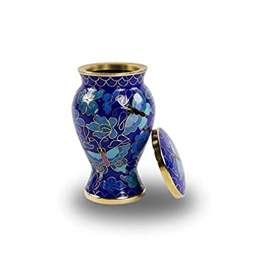 Butterfly Bronze Memorial Funeral Keepsake Urn – Extra Small – Holds Up to 5 Cubic Inches of Ashes – Cloisonne Blue Cremation Keepsake Urn for Ashes – Engraving Sold Separately