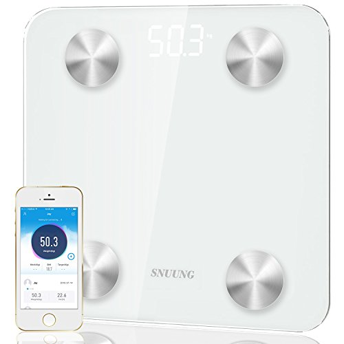 Scale,SNUUNG Body Fat Scale, High Quality Bluetooth Smart Digital, Bathroom Weight Scale,Work With IOS And Android APP, 400 Lbs (Creamy White)