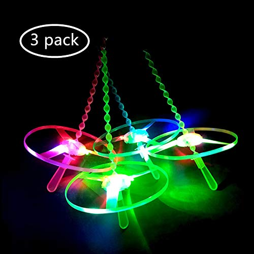 ASWCORY LED Twisty Pull String Flying Saucers/Helicopters Flying Disc Frisbee Light Up Twisty Flying Toys Outdoor Toy