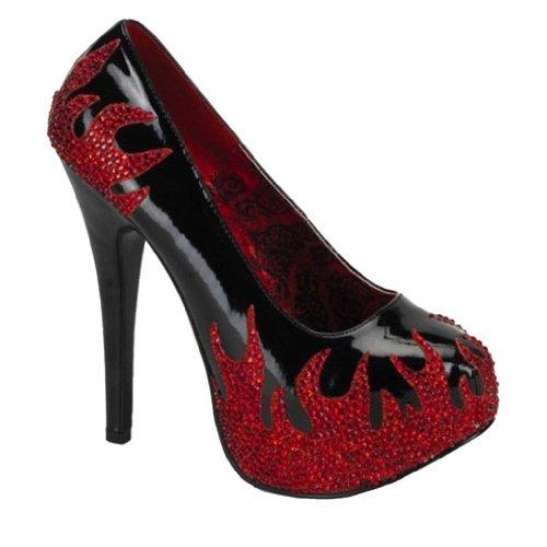 Zapatos de tacón alto de patentes con las llamas 38