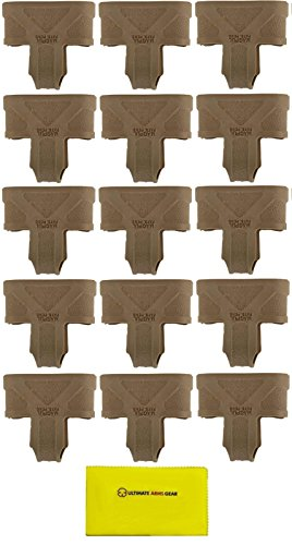 Magpul Pack of 15 FDE Flat Dark Earth Tan MAG001 MAG 001 Original Mag Pull Assist 10/15/20/30 Round with Loop .223/5.56mm NATO + Ultimate Arms Gear Gun Care And Reel Silicone Cleaning Cloth