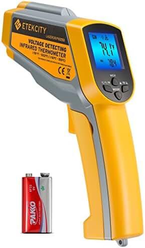 Etekcity Lasergrip1025D Digital Dual Laser Infrared Thermometer Temperature Gun Non-contact -58℉~1022℉ (-50℃ ~ 550℃) with Voltage Detecting , Adjustable Emissivity